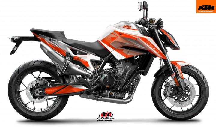KTM 790 Duke Dekor 'Square - Orange-Weiß